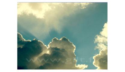 Nuages - Blanc et gris sur ciel bleu clair Gilt Paysage Ciel réf.: CN01