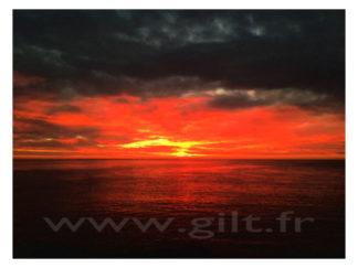 Coucher de Soleil sur Mer - Nuages - jaune rouge et noir Gilt Paysage Ciel réf.: CN04