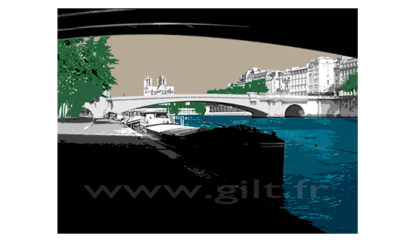 La péniche – Paris Notre Dame - Paris Gilt Paysages Urbains N°: PU03
