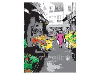 Le marché aux fleurs, Mouffetard - Paris Gilt Paysages Urbains N°: PU05