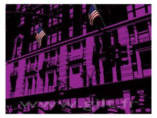 New-York - Immeubles et ses deux drapeaux US Gilt Paysages Urbains N°: PU13