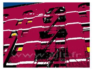 New-York - Immeubles briques rouges et escalier Gilt Paysages Urbains N°: PU09
