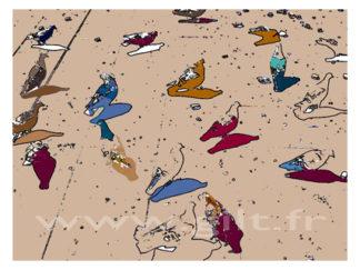 Les Pigeons colorés Gilt Animaux N°: AN02