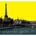 La Tour Eiffel - Ciel Jaune - Paris Gilt Paysages Urbains N°: PU02