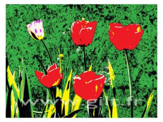 Tulippes sur fond végétal Gilt Fleurs et Plantes N°: FP07
