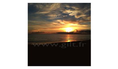 Coucher de Soleil sur Mer - Nuages - Orangés et bleuté Gilt Paysage Ciel réf.: CN05