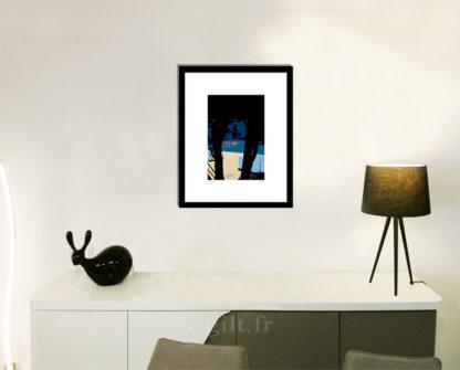Décoration d'intérieur - séjour - meuble, lampe et sculpture avec Estampe d'Art Gilt - Mer M08