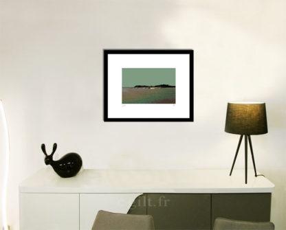 Décoration d'intérieur - séjour - meuble, lampe et sculpture avec Estampe d'Art Gilt - Mer M09