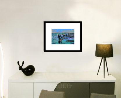 Décoration d'intérieur - séjour - meuble, lampe et sculpture avec Estampe d'Art Gilt - Mer M28