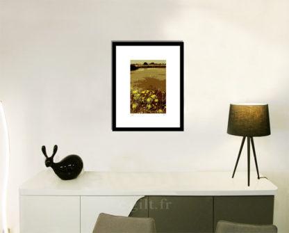Décoration d'intérieur - séjour - meuble, lampe et sculpture avec Estampe d'Art Gilt - Mer M31