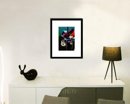 Décoration d'intérieur - séjour - meuble, lampe et sculpture avec Estampe d'Art Gilt - Mer M41