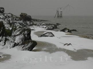 Pêcherie sous la Neige et Rochers - Côte de Jade - Gilt réf.: M16 - Thème Mer - Estampe