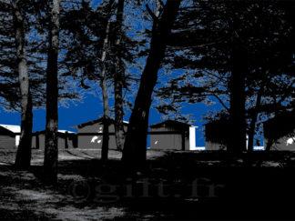 Cabines de Plage - Le Bois de la Chaise - Noirmoutier en l'Ile - Gilt réf.: M18 - Thème Mer - Estampe