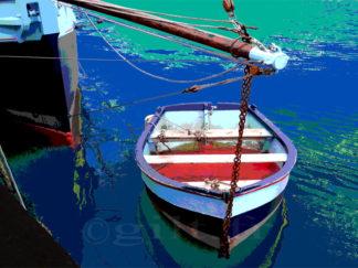 Petit bateau et sa barque - Gilt réf.: M24 - Thème Mer - Estampe