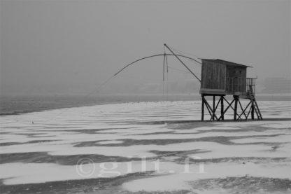 Une Pêcherie sous la Neige - Côte de Jade - Gilt réf.: M40 - Thème Mer - Estampe