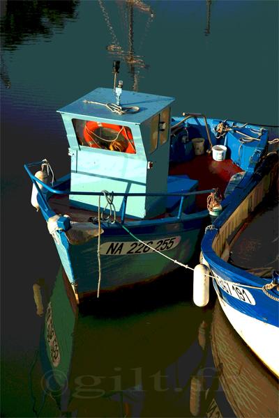 Petits Bateaux de Pêche - Gilt réf.: M45 - Thème Mer - Estampe