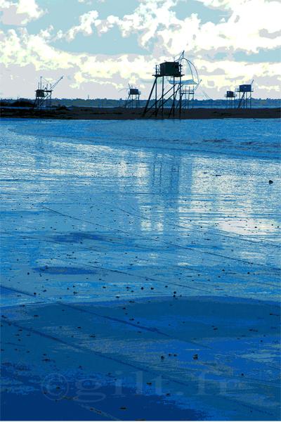 Pêcheries - Mer et Ciel Bleu - Côte de Jade - Gilt réf.: M46 - Thème Mer - Estampe