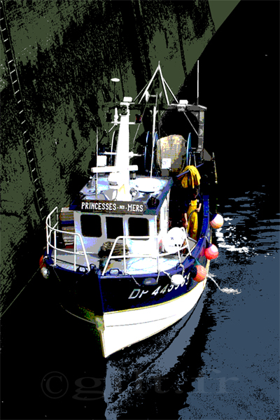 Bateau de Pêche - Dieppe - Gilt réf.: M47 - Thème Mer - Estampe