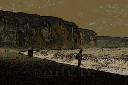 Falaises - Dieppe - Gilt réf.: M53 - Thème Mer - Estampe