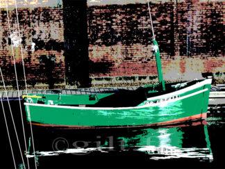 Bateau vert à Quai Gilt réf.: M54 - Thème Mer - Estampe