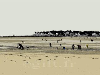 Pêche à pied - Plage Benoît - La Baule - Gilt réf.: M58 - Thème Mer - Estampe