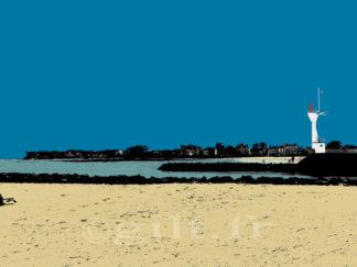 Le Phare du Pouliguen - Plage du Nau - Gilt réf.: M59 - Thème Mer - Estampe