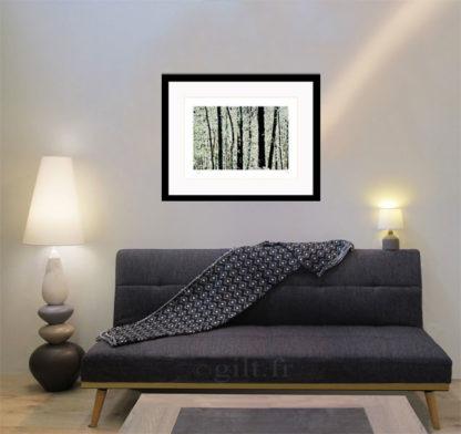 Décoration d'intérieur - salon, lampes et tapis avec Estampe d'Art Gilt - Arbres et Mousses AM01