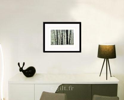 Décoration d'intérieur - séjour - meuble, lampe et sculpture avec Estampe d'Art Gilt - Arbres et Mousses AM01