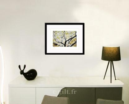 Décoration d'intérieur - séjour - meuble, lampe et sculpture avec Estampe d'Art Gilt - Arbres et Mousses AM09
