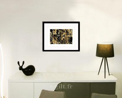 Décoration d'intérieur - séjour - meuble, lampe et sculpture avec Estampe d'Art Gilt - Arbres et Mousses AM19