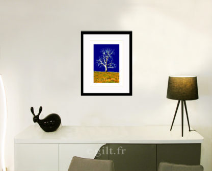 Décoration d'intérieur - séjour - meuble, lampe et sculpture avec Estampe d'Art Gilt - Arbres et Mousses AM26