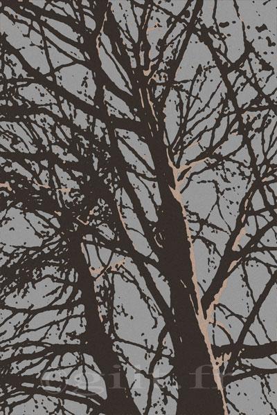 Arbres sans Feuilles - Ciel Gris Vert Gilt réf.: AM24 - Thème Arbres et Mousses - Estampe